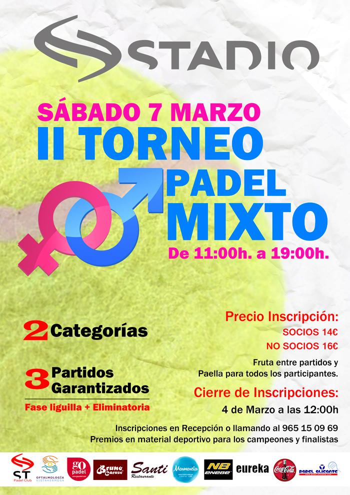 Torneo Mixto de Padel Stadio Alicante marzo 2015